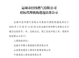 運城市經緯燃氣有限公司 招標代理機構遴選結果公示